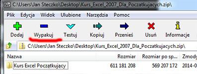 Wypakuj archiwum za pomocą 7zip