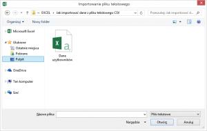 Okno wyboru pliku w Excelu